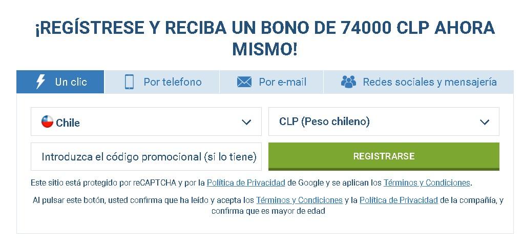 1xBet registro Chile